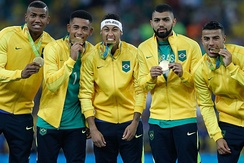 Brazil players with their gold medals from the 2016 Summer Olympics