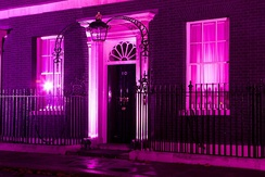 10 Downing Street lit up in pink on October 25, 2011 for National Breast Cancer Awareness Month