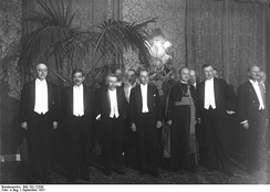 Premier Laval is second from left, at a 1931 diplomatic function in Germany