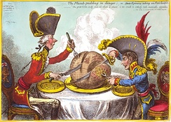 "James Gillray's The Plumb-pudding in Danger (1805). The world being carved up into spheres of influence between Pitt and Napoleon. According to Martin Rowson, it is ""probably the most famous political cartoon of all time—it has been stolen over and over and over again by cartoonists ever since.""[12]"
