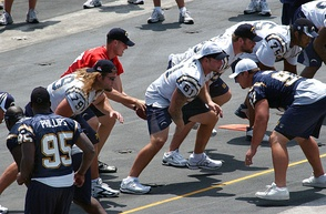 Chargers players (including quarterback Philip Rivers) practice aboard the USS Ronald Reagan on August 11, 2006