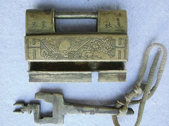 Chinese lock and key from Yunnan Province, early 20th century