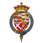 Warwick's coat of arms as Knight of the Garter.