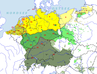 German-Dutch-Frisian language area before and after the flight and expulsion of Germans (1944–1950) from much of eastern and central Europe. Areas in the east where German is no longer spoken are marked by lighter shades.