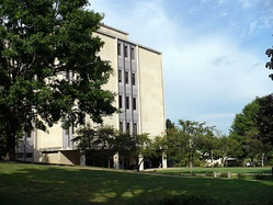 The McAnulty College and Graduate School of Liberal Arts building borders Duquesne's Academic Walk.