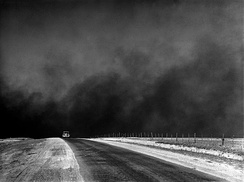 Picture showing a dust storm during the Dust Bowl period, Texas Panhandle, TX
