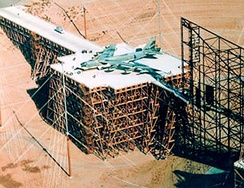 ATLAS-I Electromagnetic pulse (EMP) simulator (The Trestle) with a B-52 Stratofortress during testing