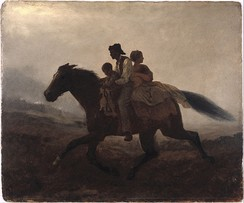 Eastman Johnson (American, 1824–1906). A Ride for Liberty -- The Fugitive Slaves (recto), ca. 1862. Oil on paperboard. Brooklyn Museum