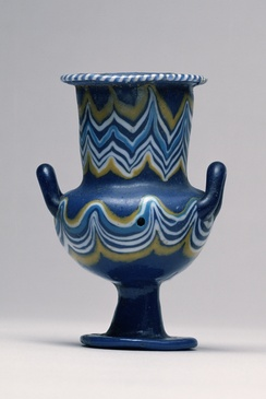A faience vase fabricated in part from natron, dating to the New Kingdom of Egypt (c. 1450-1350 BC).