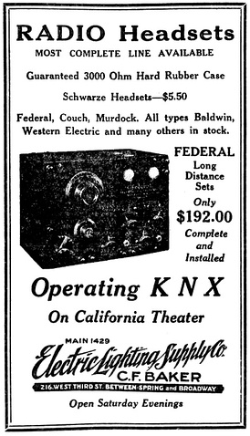 April 1923 Electric Lighting Supply Company advertisement promoting its operation of KNX at the California Theater.