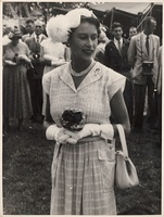 Queen Elizabeth at a garden party held in her honour at Home Island (1954).