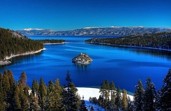 Lake Tahoe on the border of California and Nevada