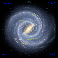 An artistic rendition of the actual Milky Way galaxy, overlaid with the fictional quadrant system of the Star Trek universe and the location of certain species. Voyager had to make its way from above where the Kazon species is located back to Earth; this journey is a major plot element in the series