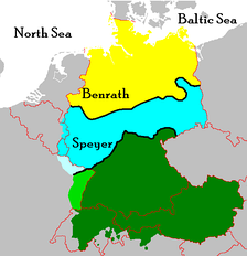 Southern Germany roughly corresponds to the area of Germany south of the Speyer line, below which Upper German dialects are spoken (shown in green)