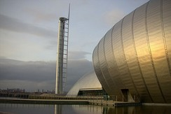 Glasgow Tower, Scotland's tallest tower, and the IMAX Cinema at the Glasgow Science Centre symbolise the increase in the importance of tourism to the city's economy.