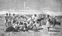 Moorish tribes meet to trade gum arabic at Bakel on the Senegal river, 1890