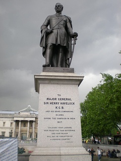 The statue of General Henry Havelock in Trafalgar Square