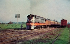 Milwaukee Road class A #1 pauses near Milwaukee in 1951.