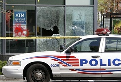 World Bank/IMF protesters smashed the windows of this PNC Bank branch located in the Logan Circle neighborhood of Washington, D.C.