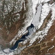 Spring ice melt underway on Lake Baikal, on 4 May: Notice the ice-covered north, while much of the south is already ice-free.