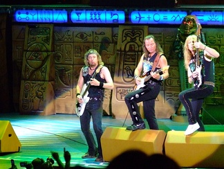 Adrian Smith, Dave Murray and Janick Gers performing in Irvine.