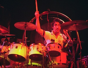 Keith Moon of The Who with a mixture of concert toms and conventional toms, 1975
