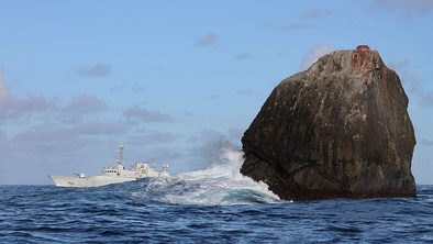 The Irish Naval Service vessel Róisín at Rockall conducting routine maritime security patrols 230 nmi (430 km) off the north-west coast of Ireland