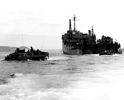 LVTs embarking Royal Marine commandos leave Fort Marion (LSD-22) for the beach at Sorye Dong, North Korea, on 7 April 1951.