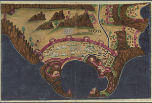 Muscat (Mascate) Portuguese Fortress in the 17th century. António Bocarro Book of Fortress