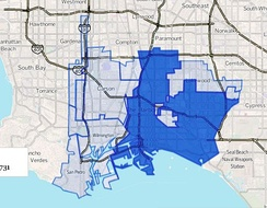 Los Angeles Harbor Region as drawn by the Los Angeles Times. Dark blue is the city of Long Beach.