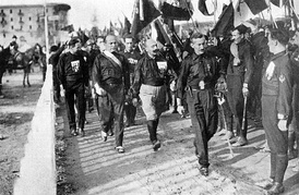 Benito Mussolini (second from left) and his Fascist Blackshirts in 1920