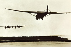 an He 111Z towing a Me 321 glider