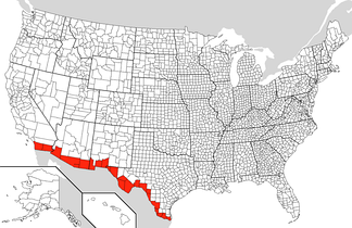 Border counties in the United States along the Mexican border