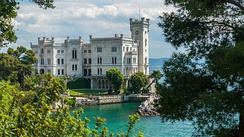 Miramare Castle, Trieste - the mansion built between 1856 and 1860 overlooking the sea as an example of a present-day museum