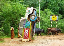 Monument to the hippie era. Tamil Nadu, India