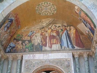 A mosaic of St Marks body welcomed into Venice, at St Mark's Basilica, Venice.