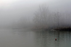 Fog on the Secchia River near Modena. Fog is a common occurrence in the Po Plain