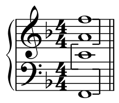 Multi-octave F major chord with octaves marked by brackets.  Play full chord (help·info),  lowest octave (help·info),  middle octave (help·info), or  highest octave (help·info).