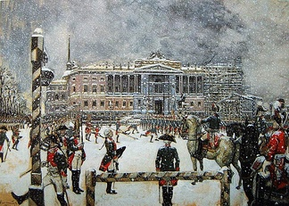Military Parade of Emperor Paul in front of Mikhailovsky Castle painting by Alexandre Benois, taken from the art book World of Art