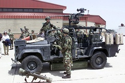 U.S. Army Ranger Special Operations Vehicle (RSOV) armed with RAMO M2HB-QCB machine gun