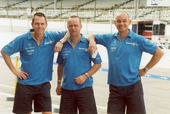 Members of the Renault F1 pit crew in 2002.