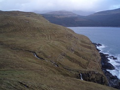 The remains of old run rig strips beside Loch Eynort, Isle of Skye. Run rig was the pre-clearance method of arable farming before agricultural improvements were introduced.