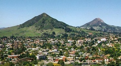 The city of San Luis Obispo with Bishop Peak on the right and Cerro San Luis on the left