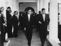 Shriver and JFK at the White House in August 1961.