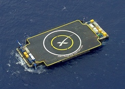Autonomous spaceport drone ship in position prior to Falcon 9 Flight 17 carrying CRS-6.