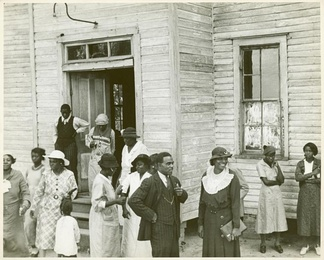 Outside of a Black church in Little Rock, Arkansas, 1935.