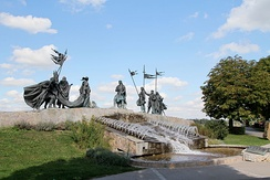 Nibelungen fountain in Tulln an der Donau, Austria (Hans Muhr, 2005), depicting the meeting of Etzel and Kriemhild.