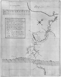 Washington's map of the Ohio River and surrounding region containing notes on French intentions, 1753 or 1754