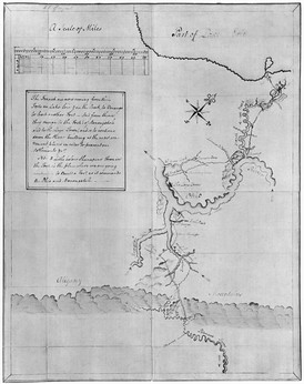 A map of the upper Ohio River and surrounding area drawn by Washington during or after his 1753 expedition