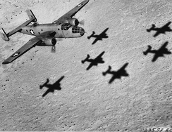 Formation of B-25 Mitchells over the Western Desert, 1943